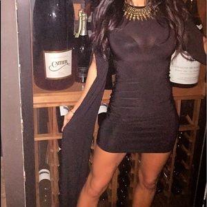 One long sleeve black dress